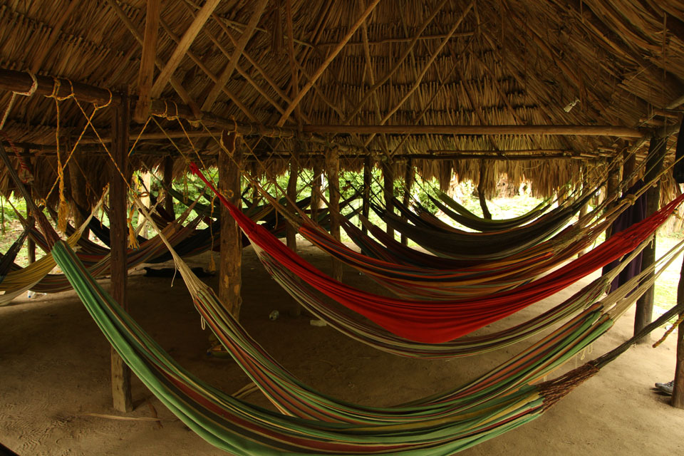 Tayrona park: shared hammock dormitories in the camping